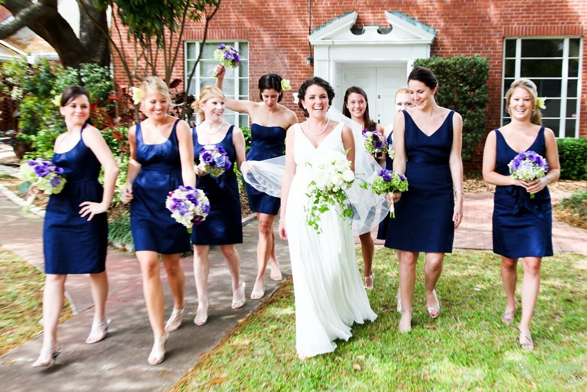 I loved the classic navy blue dresses that went perfect with the reception